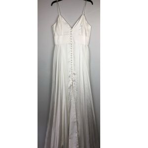 JOANNA AUGUST Front Button-Up V-Neck Wedding Dress